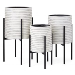 Contemporary Planters With Stands (Set Of 3)
