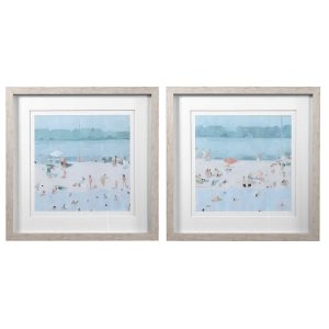 SEA GLASS SANDBAR FRAMED PRINTS, S/2
